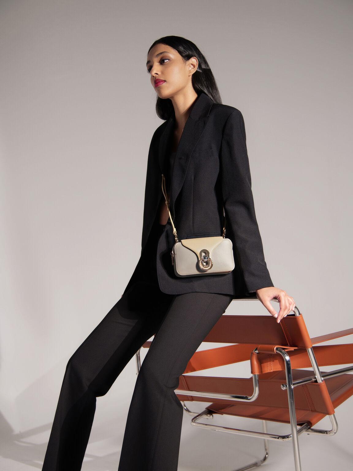 Mini Leather Shoulder Bag, Taupe, hi-res