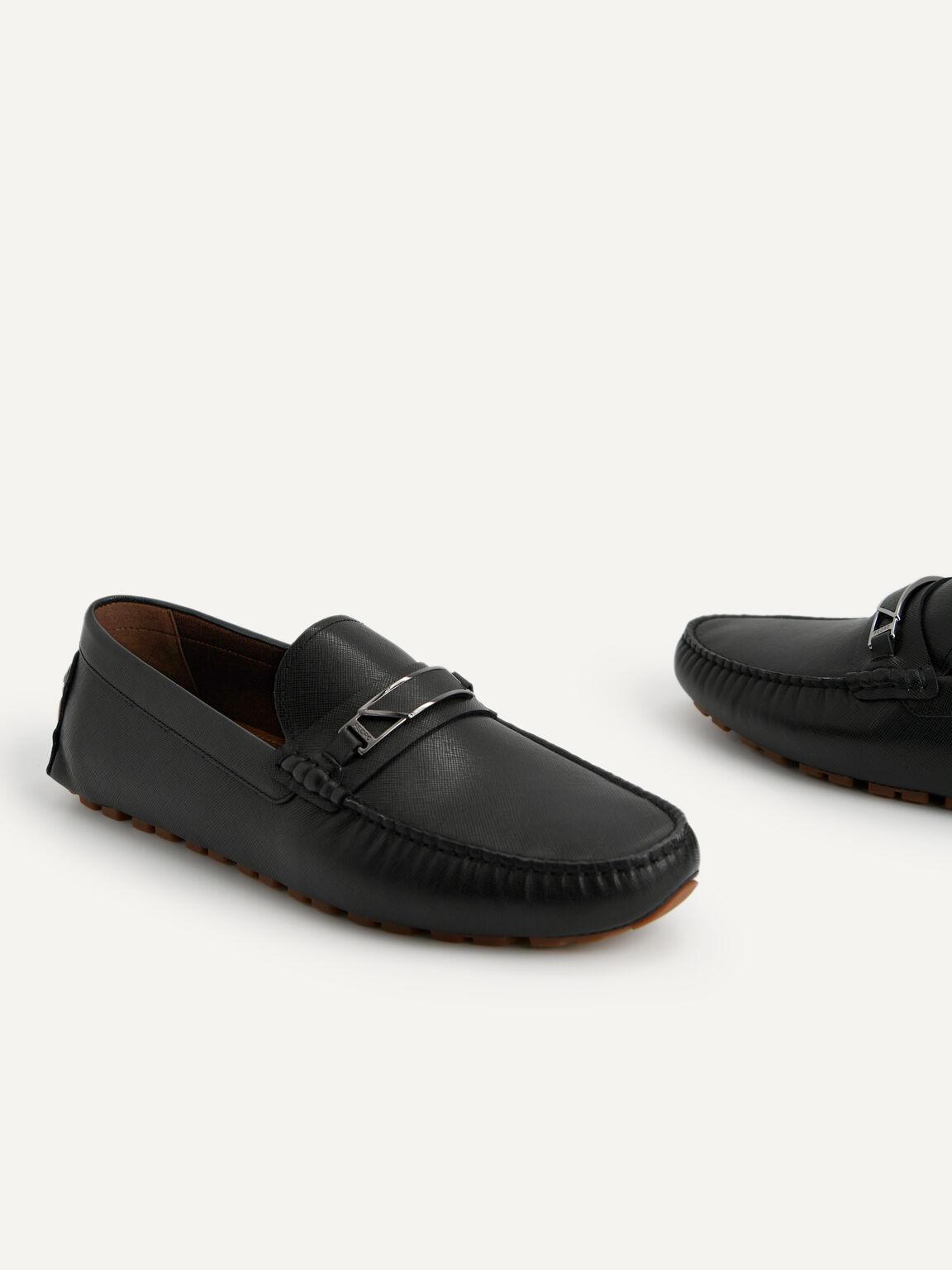 金屬裝飾皮革莫卡辛鞋, 黑色, hi-res