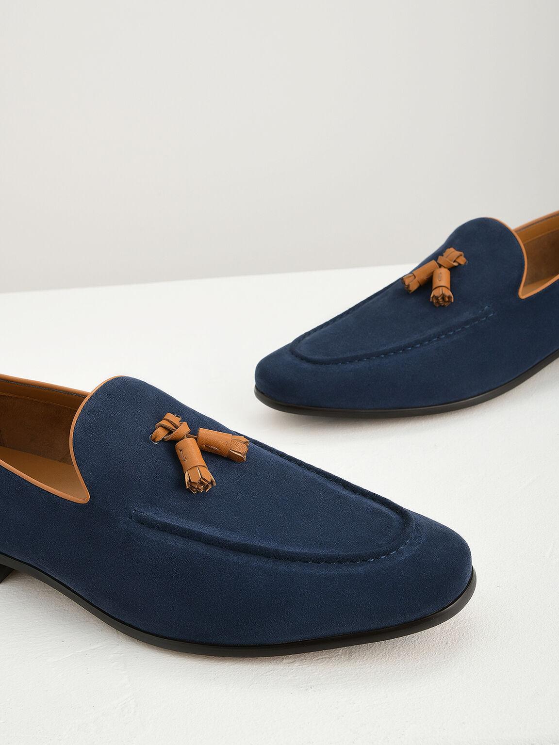 Suede Tasselled Loafers, Navy, hi-res