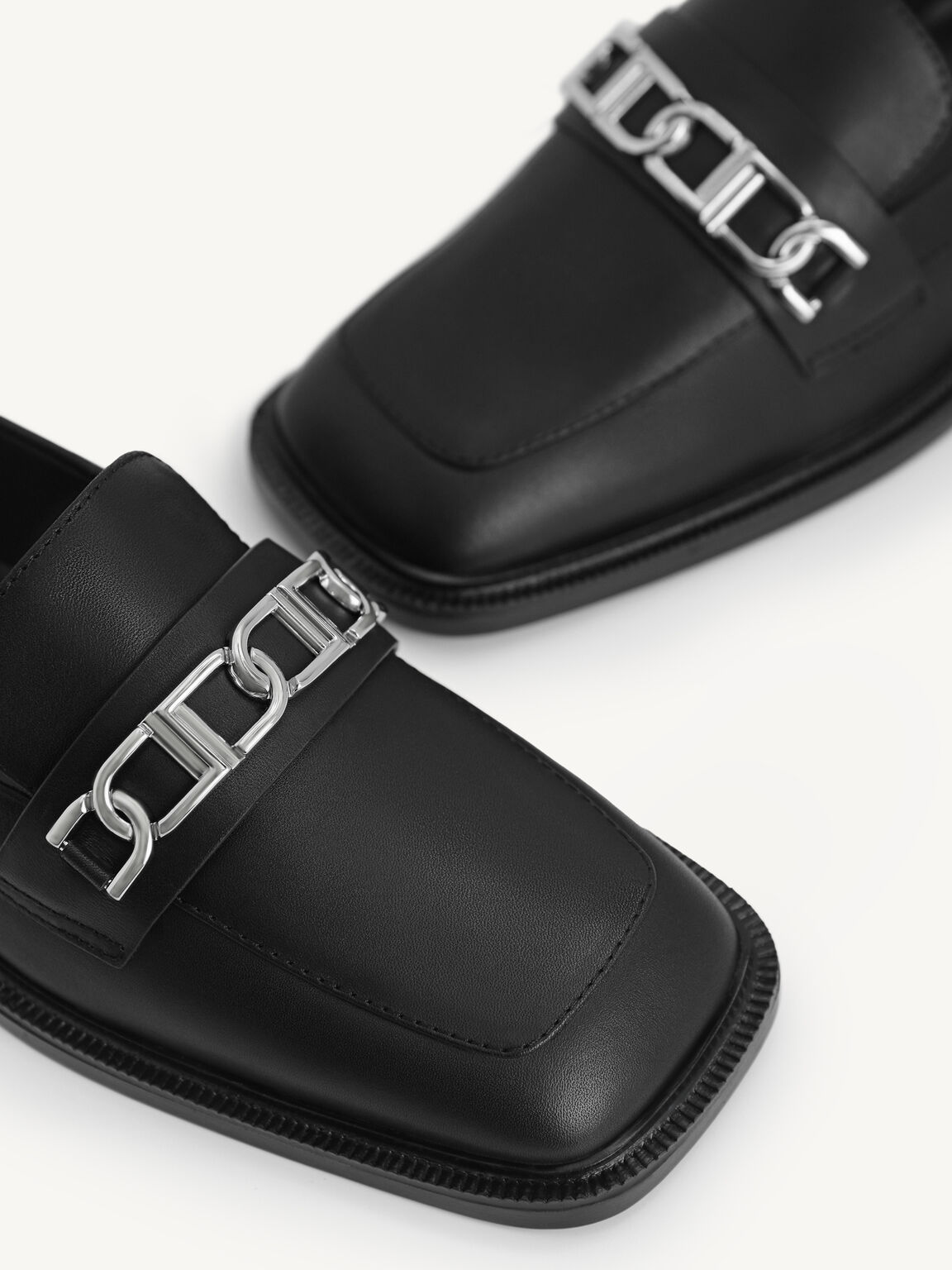 Icon Leather Square Toe Loafers, Black, hi-res