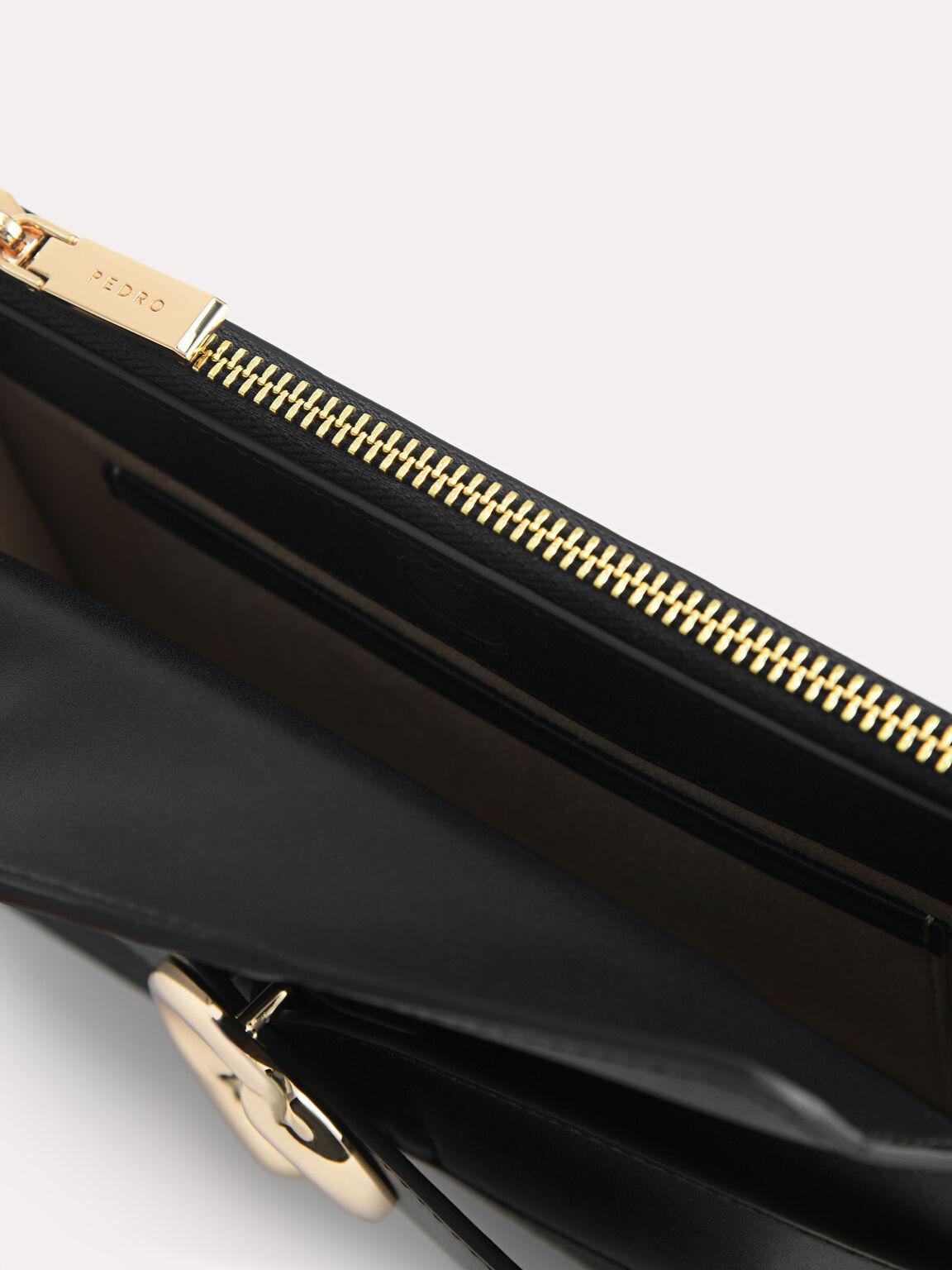 Textured Leather Shoulder Bag, Black, hi-res