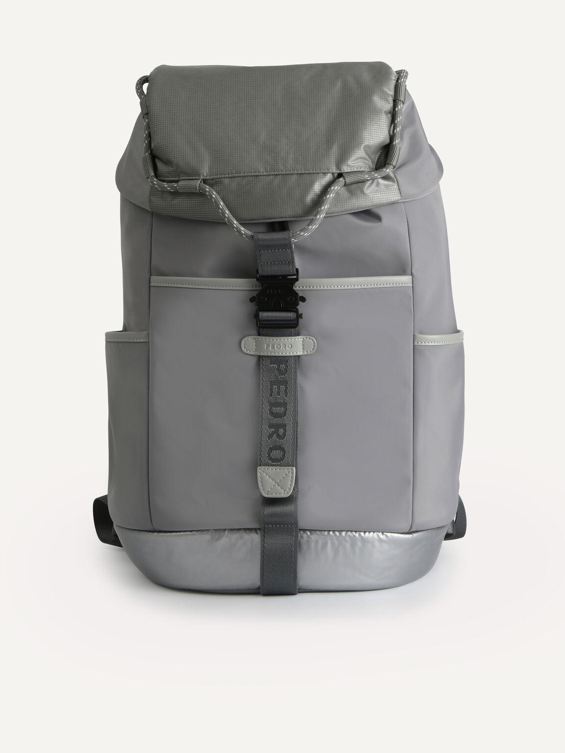Utilitarian Drawstring Backpack, Grey, hi-res