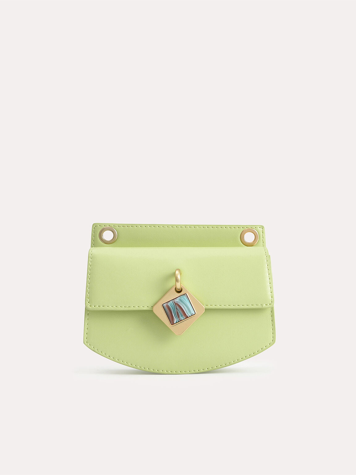 Micro Shoulder Bag with Marble Buckle, Light Green, hi-res