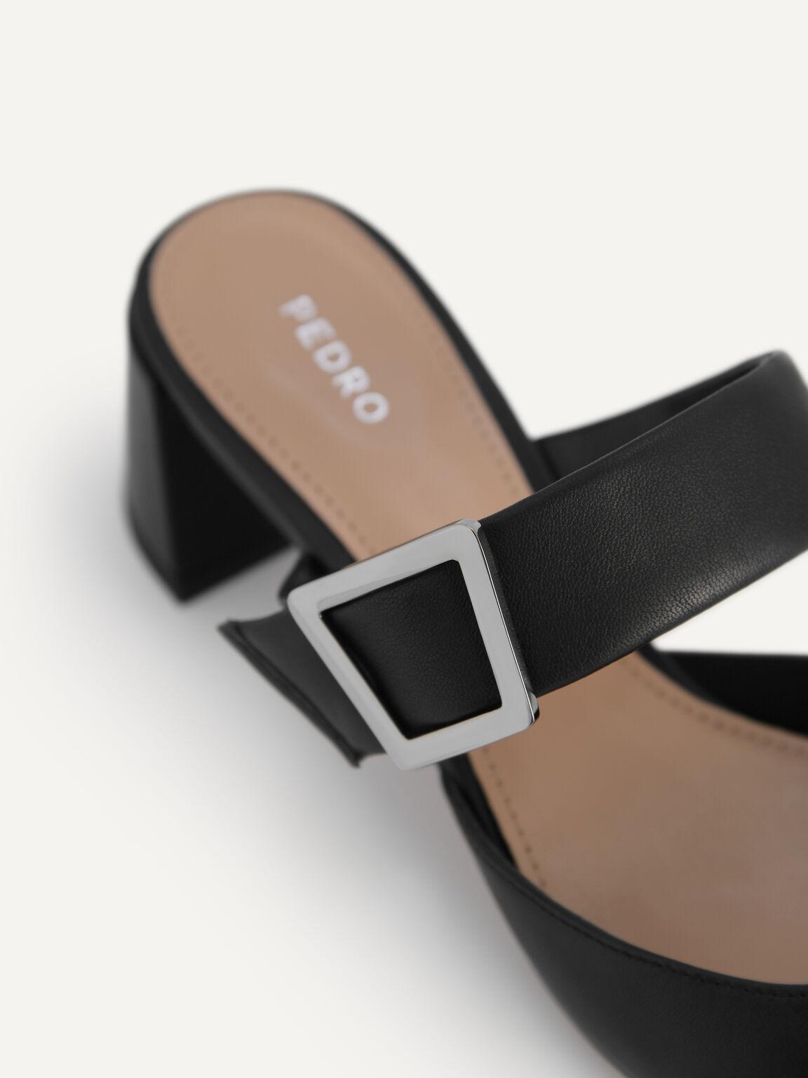 Leather Slip-On Heels, Black, hi-res