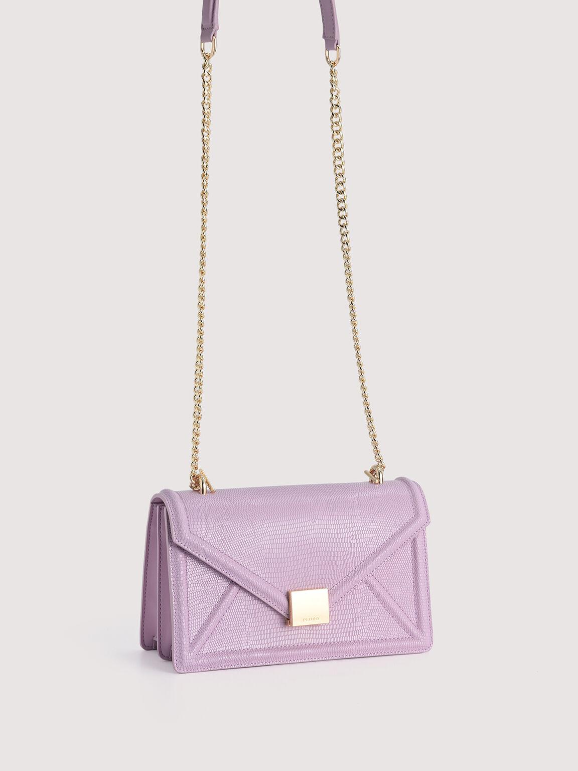 Lizard-Effect Leather Envelope Shoulder Bag, Lilac, hi-res