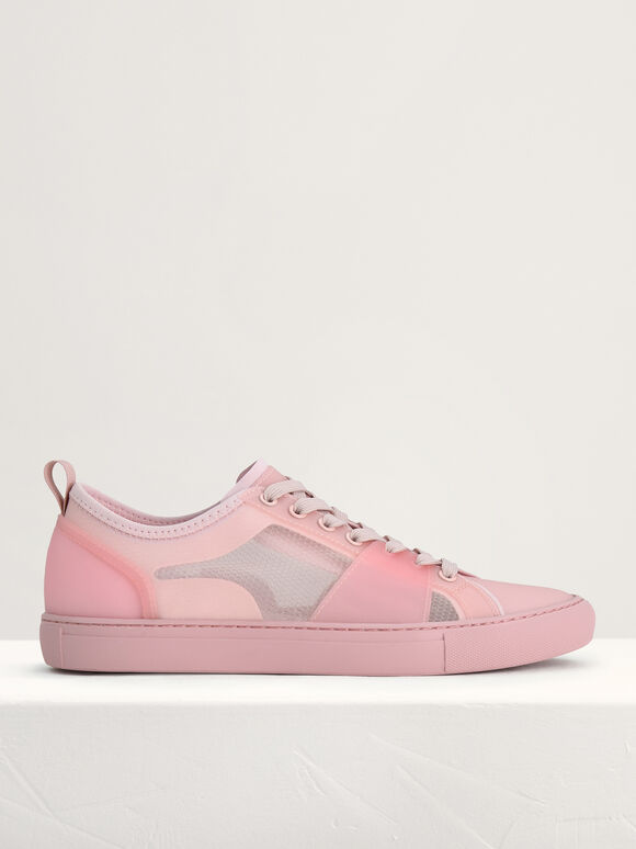 Mesh Court Sneakers, Light Pink, hi-res