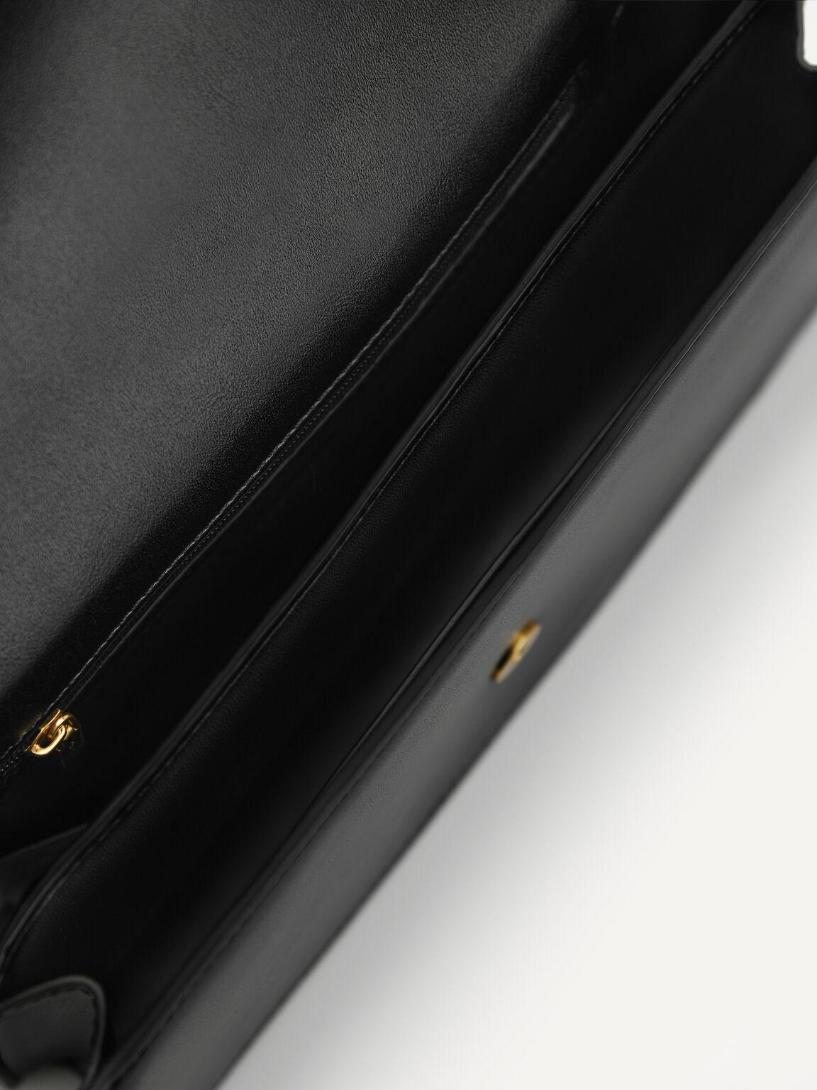 Shoulder Bag with Heart Clasp, Black, hi-res