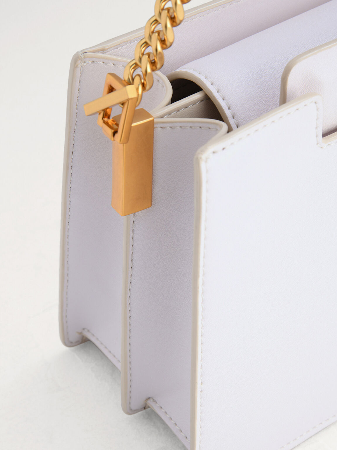 Structured Shoulder Bag, Chalk, hi-res