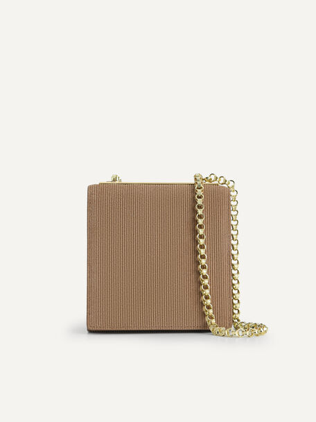 Corduroy Sling Pouch, Brown, hi-res