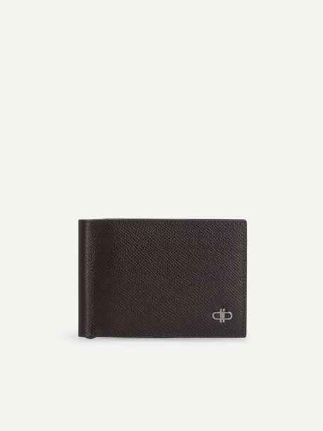 Icon Textured Leather Bi-Fold Wallet with Money Clip, Dark Brown, hi-res