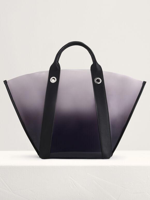Large See-Through Tote Bag, Black, hi-res