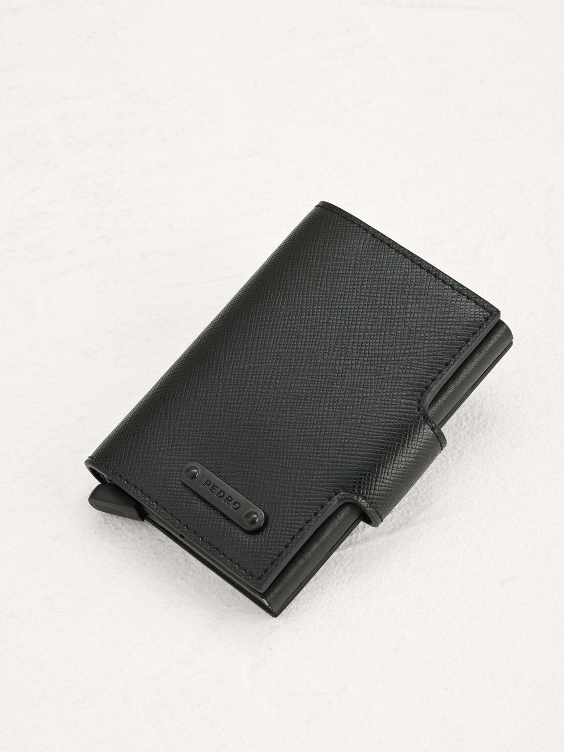 Leather Bi-Fold Card Holder, Black, hi-res
