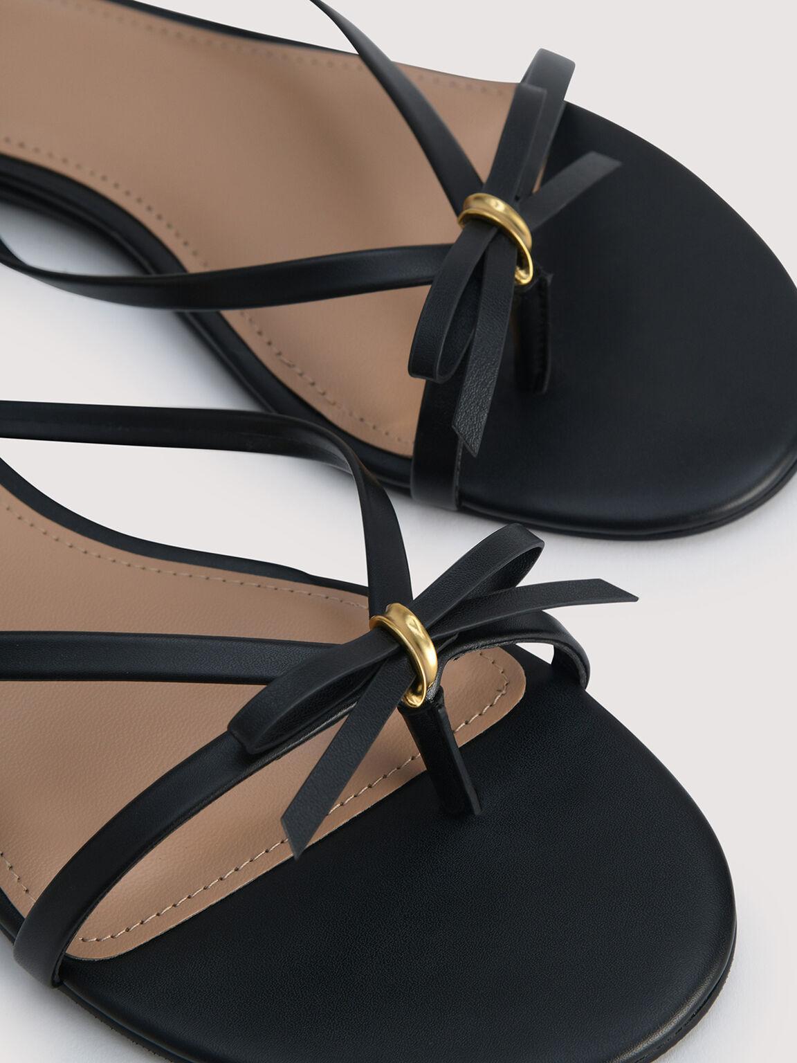 Strappy Thong Sandals, Black, hi-res