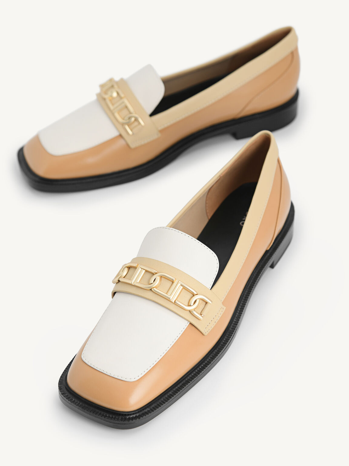 Icon Leather Square Toe Loafers, Camel, hi-res