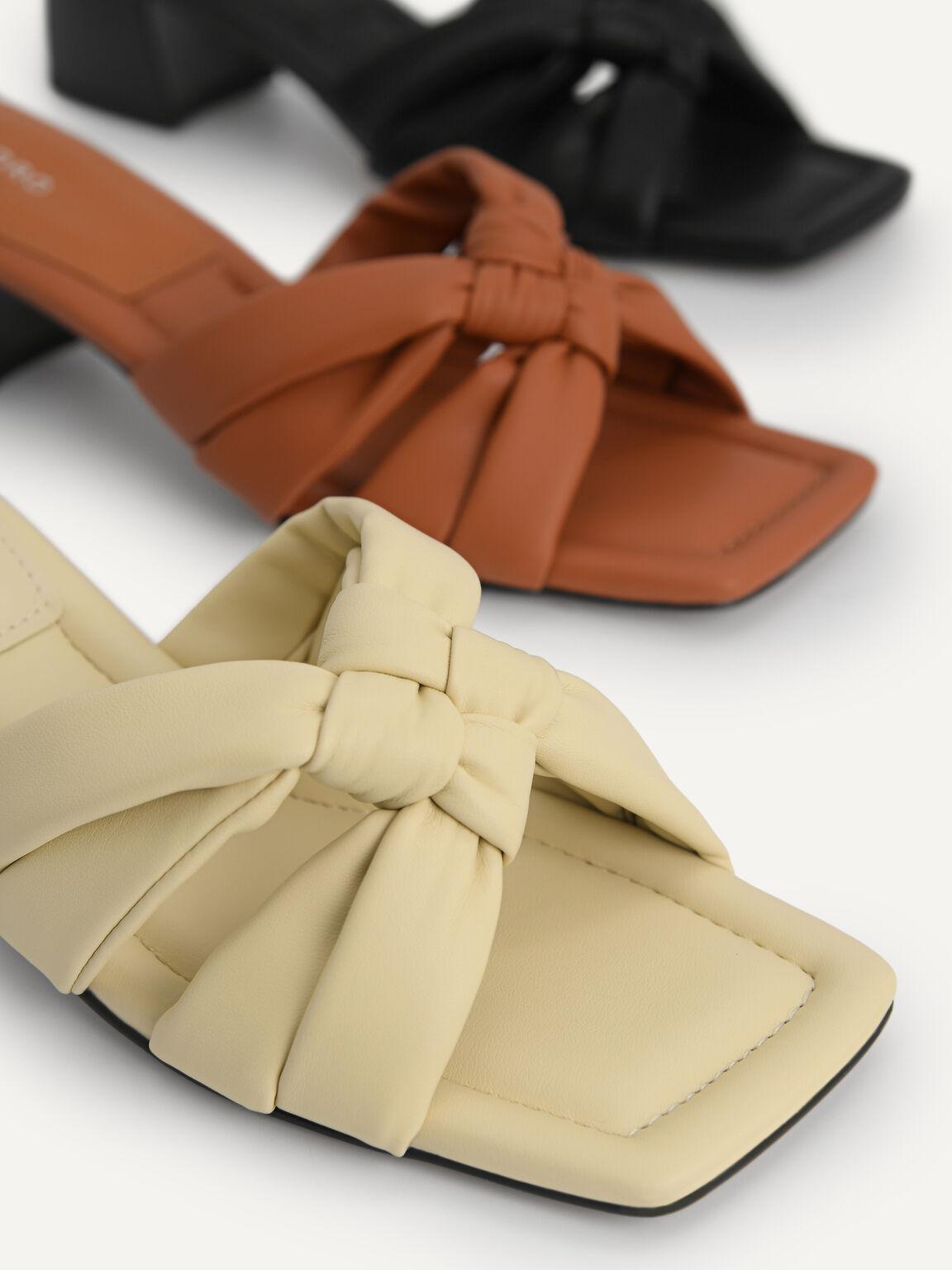 Knotted Straps Heeled Sandals, Black, hi-res