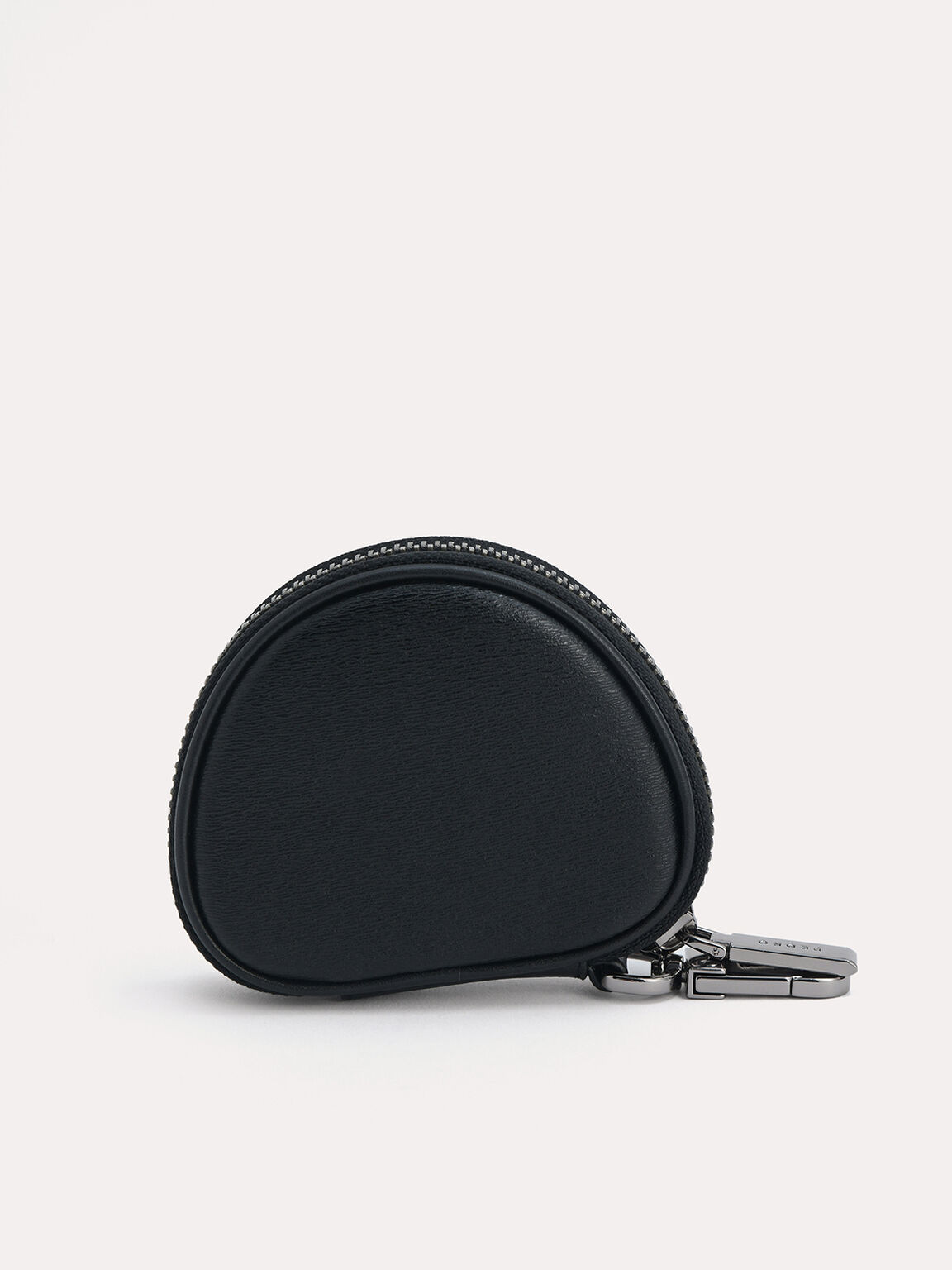 Textured Leather Key Pouch, Black, hi-res