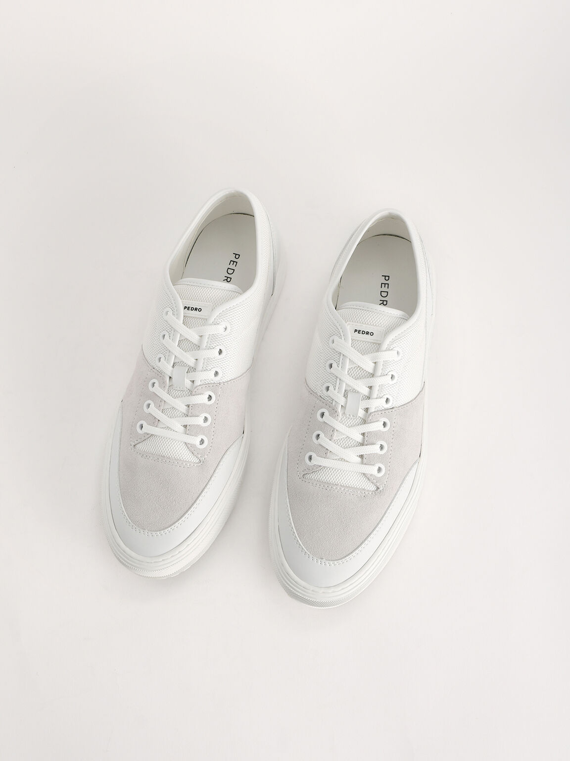 Mesh Lace-up Sneakers, White, hi-res