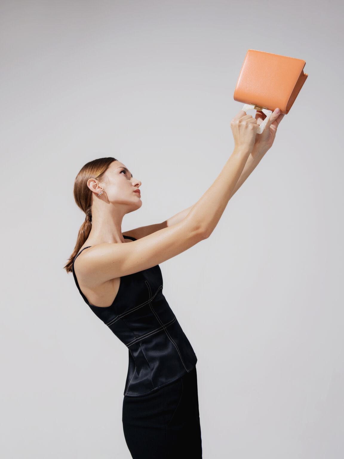 Top Handle Bag with Acrylic Handle, Orange, hi-res