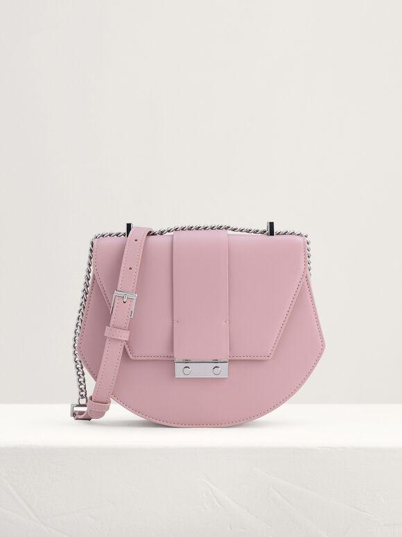 Front Flap Shoulder Bag, Pink, hi-res