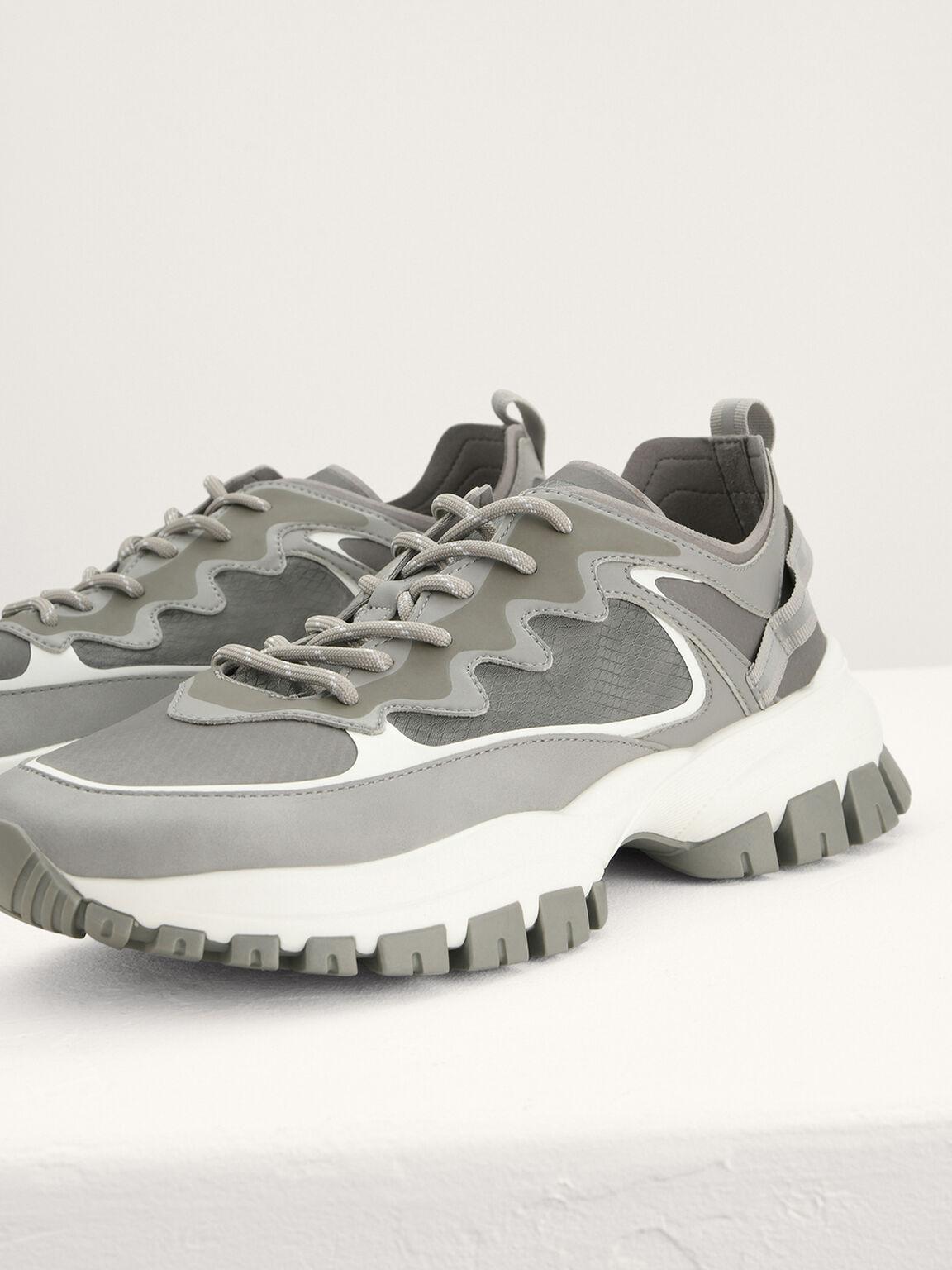 Chunky Mesh Sneakers, Light Grey, hi-res