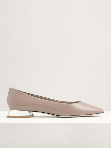 Mirror-Effect Patent Leather Ballerina Flats, Taupe, hi-res