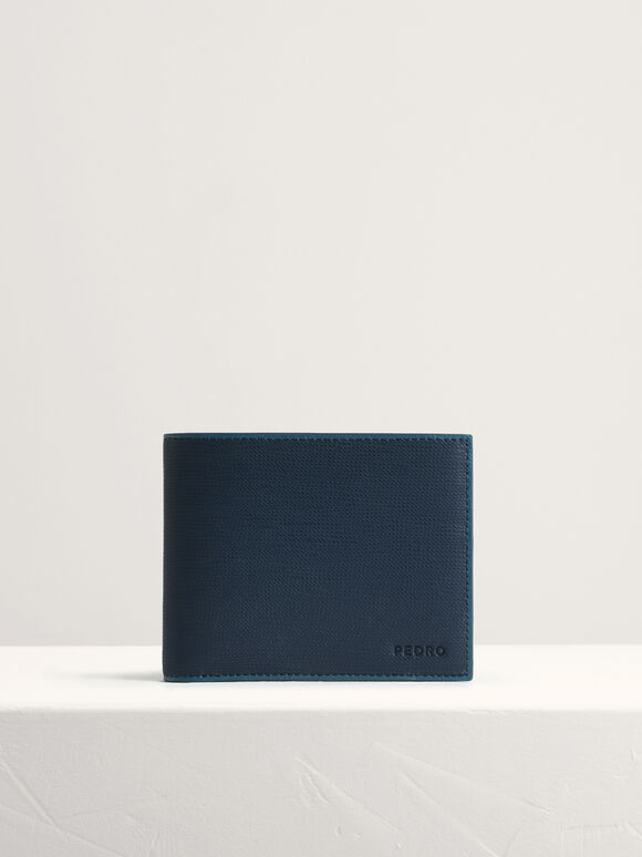 Leather Bi-Fold with Coin Pouch, Navy, hi-res