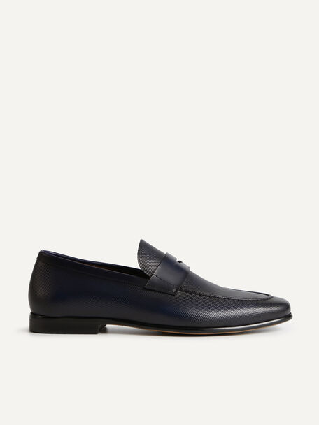 Textured Leather Penny Loafers, Navy, hi-res