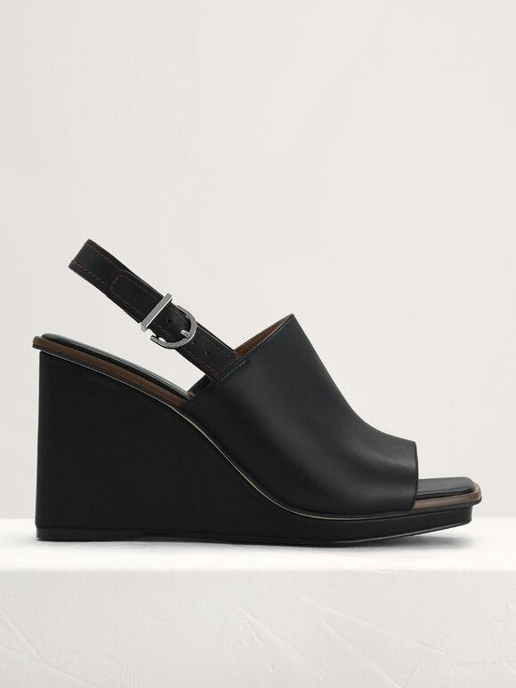 Leather Wedge Sandals, Black, hi-res