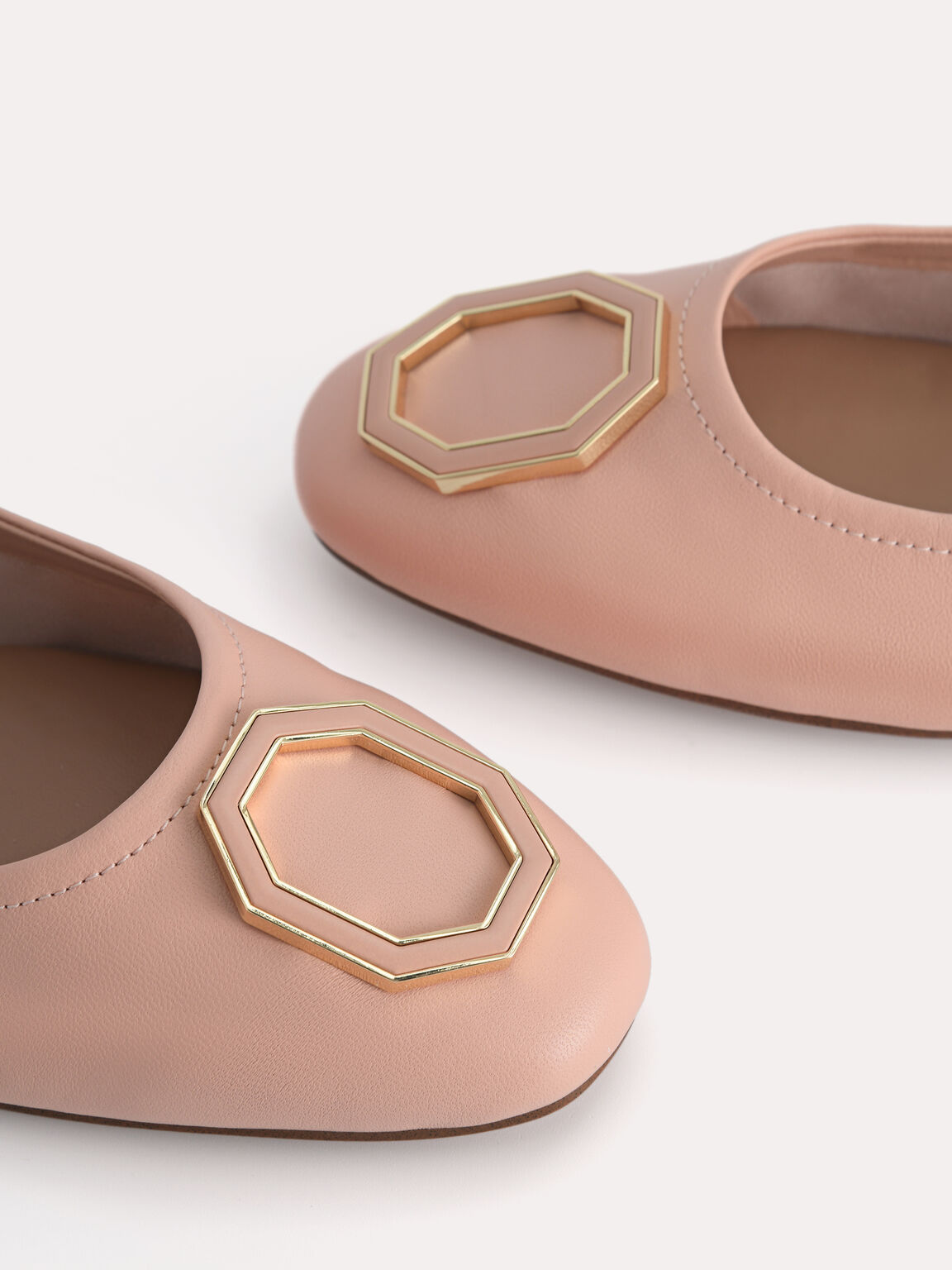 Leather Ballerina Flats, Blush, hi-res
