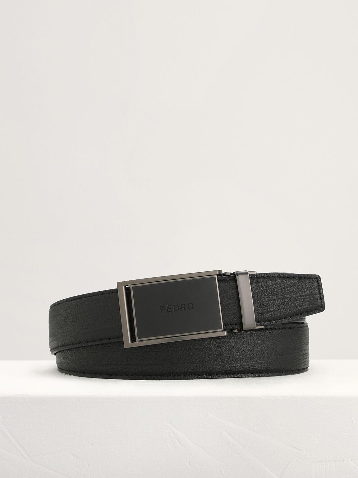 Leather Automatic Buckle Belt, Black, hi-res