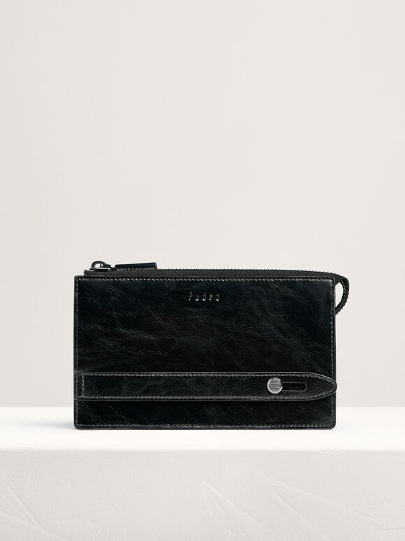 Leather Phone Pouch, Black, hi-res