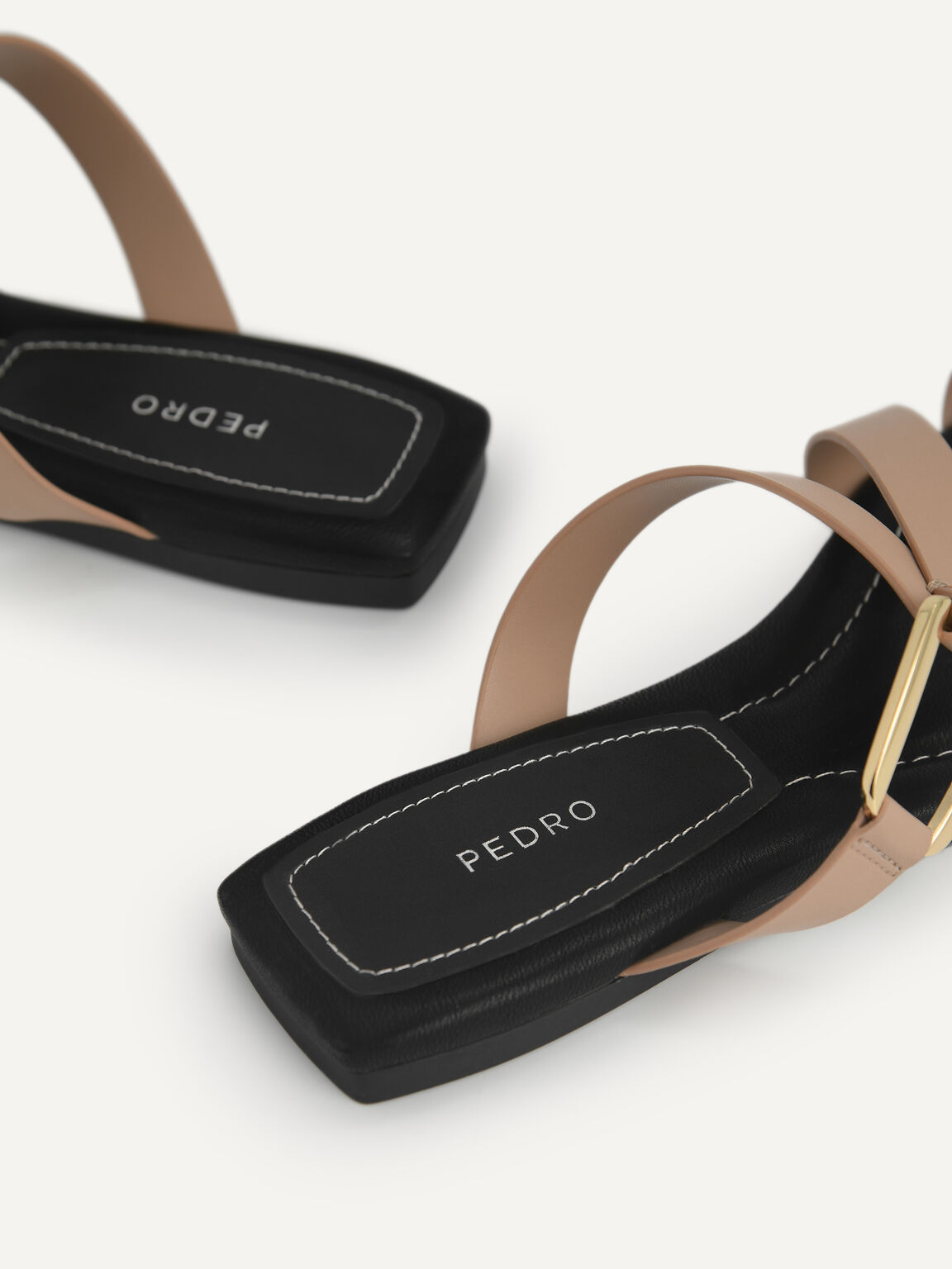 Square-Toe Toe Loop Sandals, Taupe, hi-res