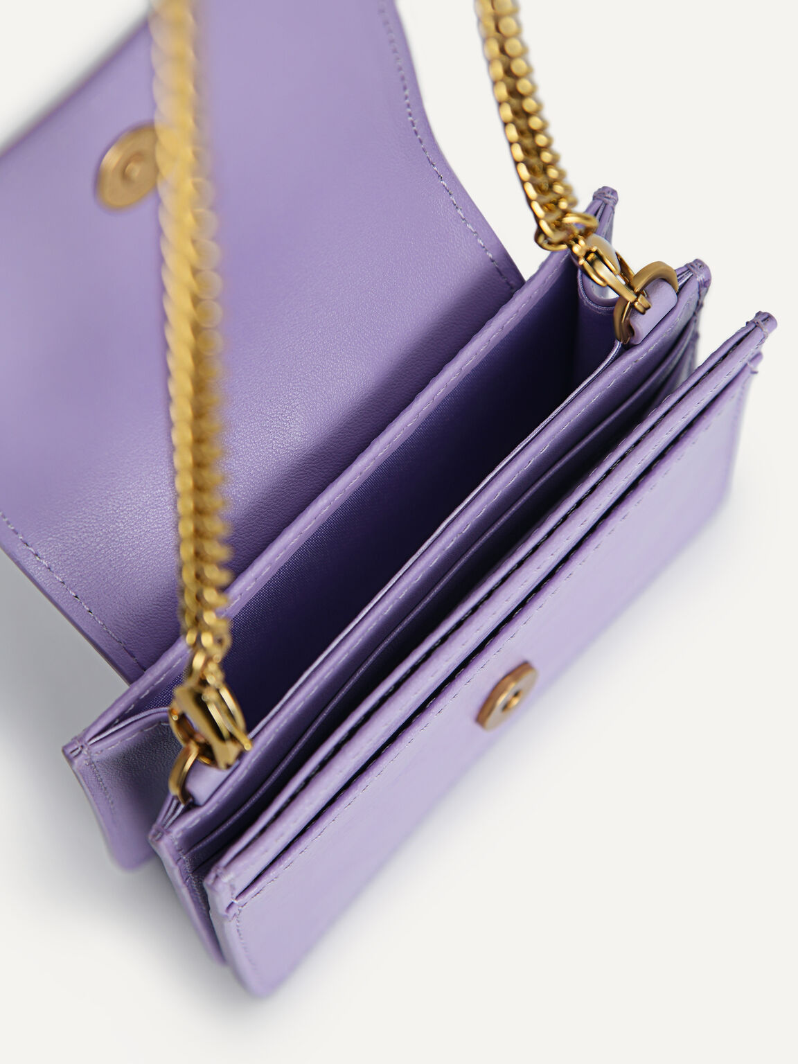 Leather Pouch with Chain Handle, Mauve, hi-res