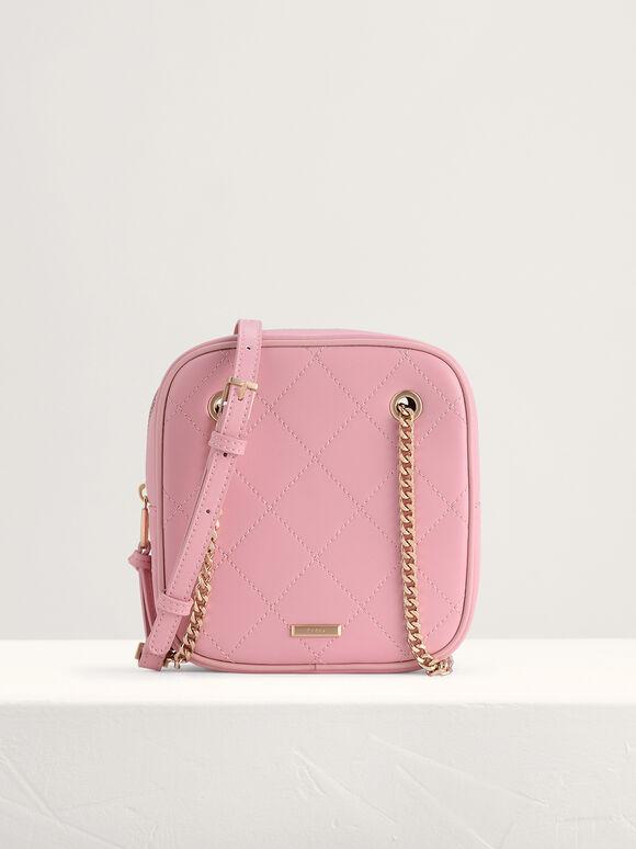 Quilted Boxy Shoulder Bag, Light Pink, hi-res