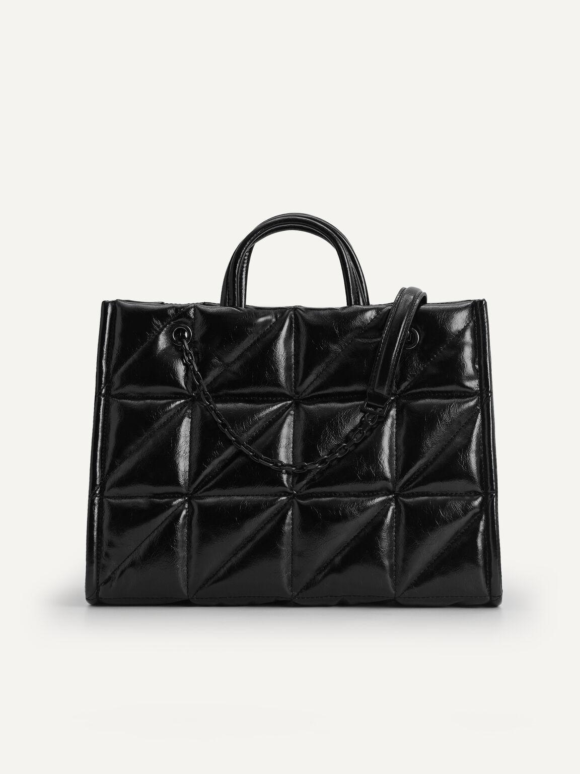 Boxy Crinkled Tote, Black, hi-res