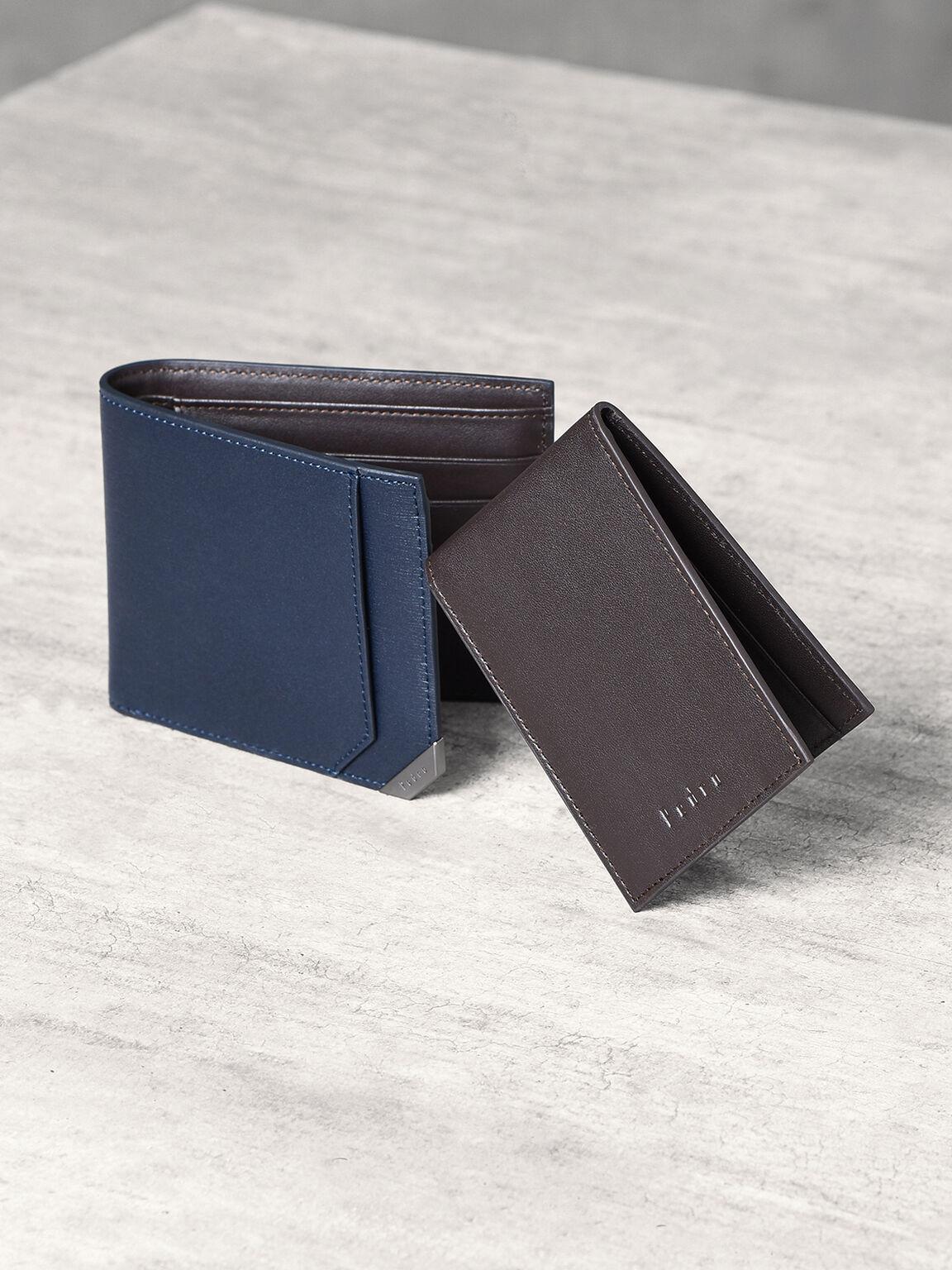 Metallic Tip Bifold Wallet, Navy, hi-res