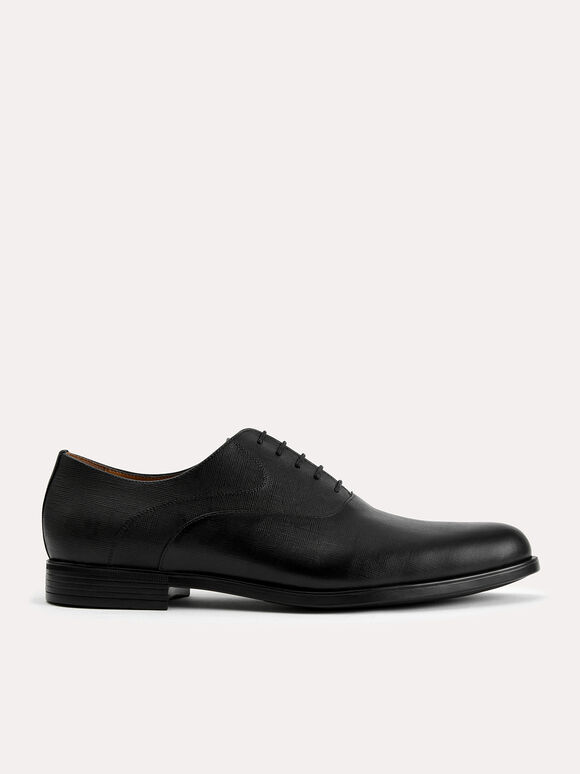 Textured Leather Oxfords, Black, hi-res