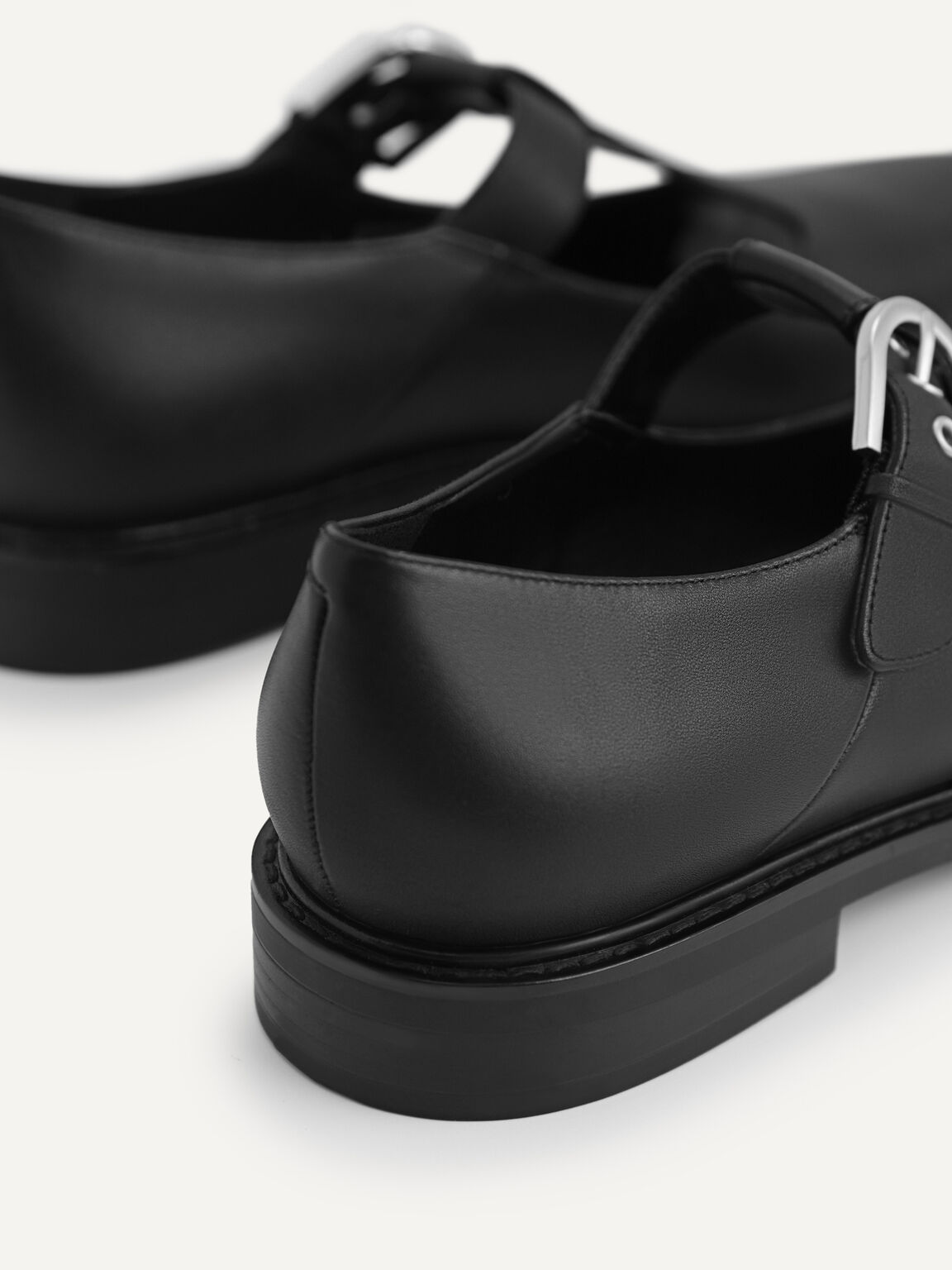 Leather Mary Jane Shoes, Black, hi-res