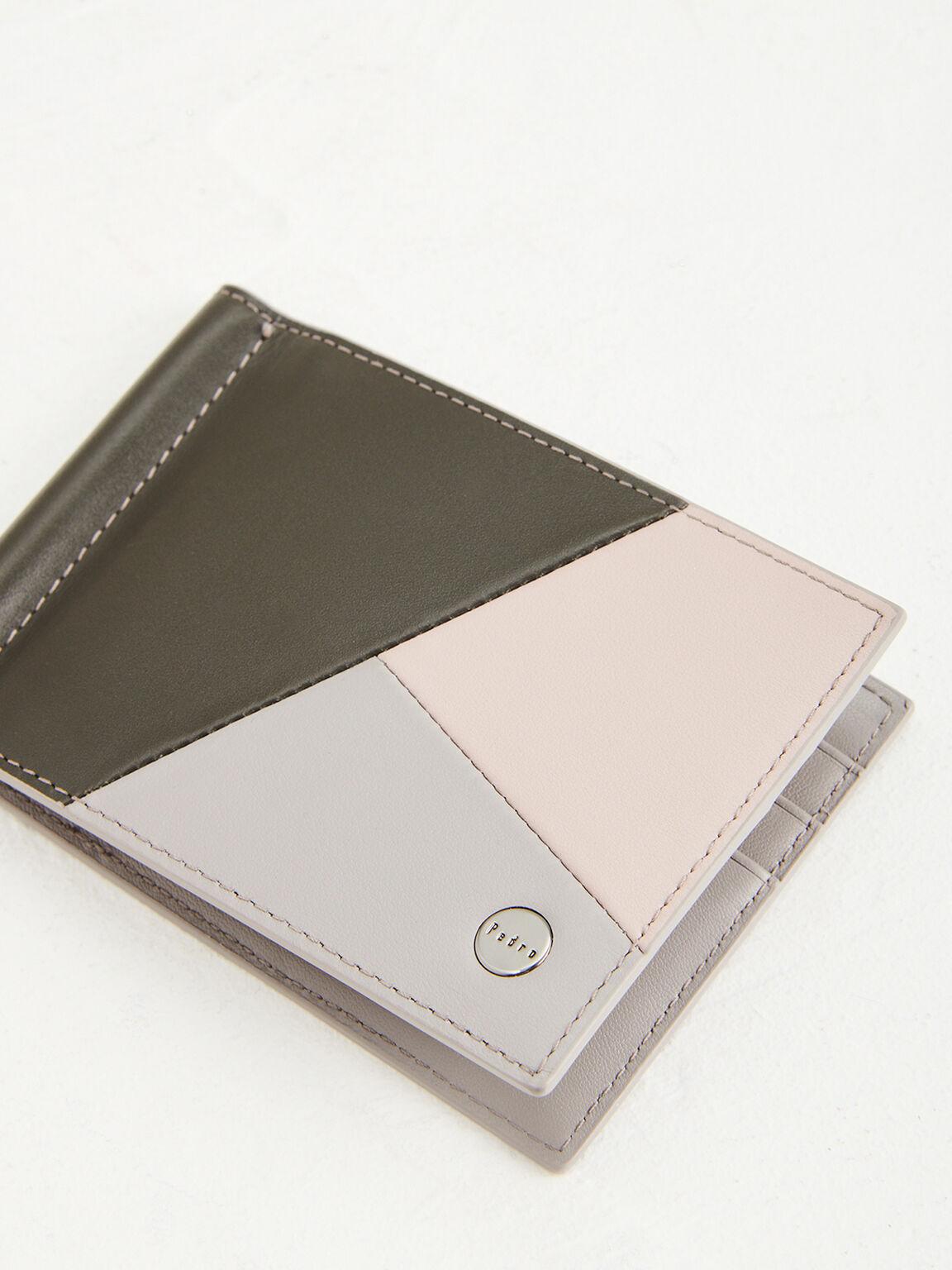 Colorblock Leather Bi-Fold Money Clip, Multi2, hi-res