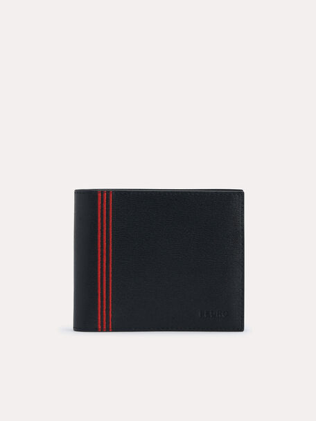 Textured Leather Bi-Fold Wallet with Coin Pouch, Black, hi-res