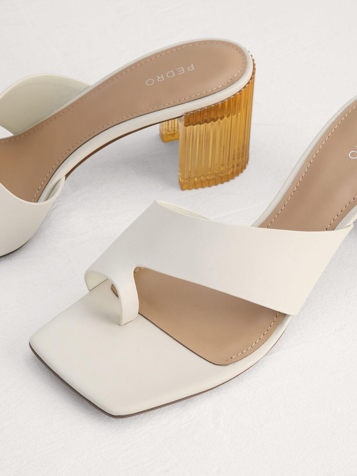 Toe Loop Sandals with Decorative Heel, Chalk, hi-res