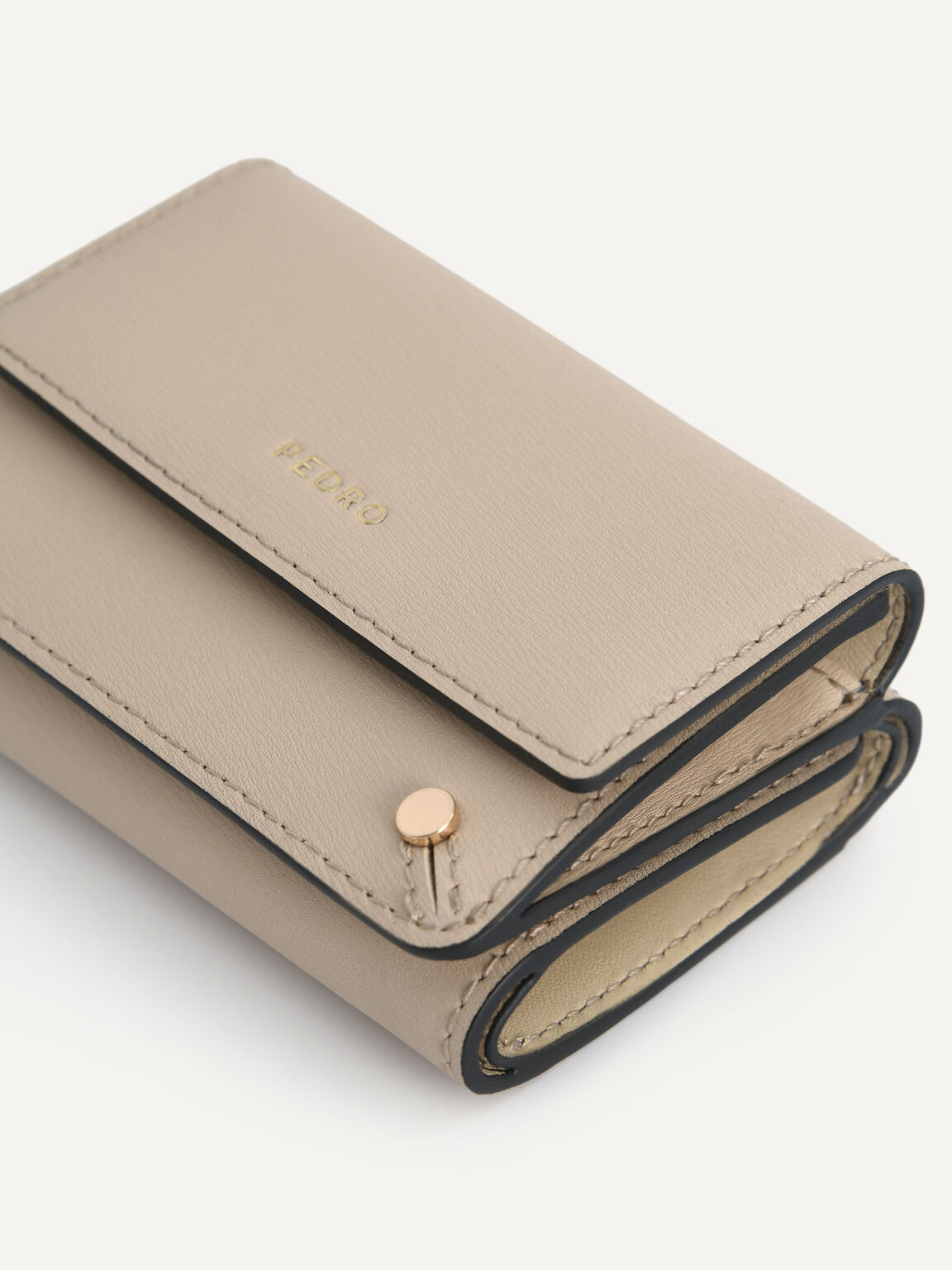 Textured Leather Trifold Wallet, Sand, hi-res