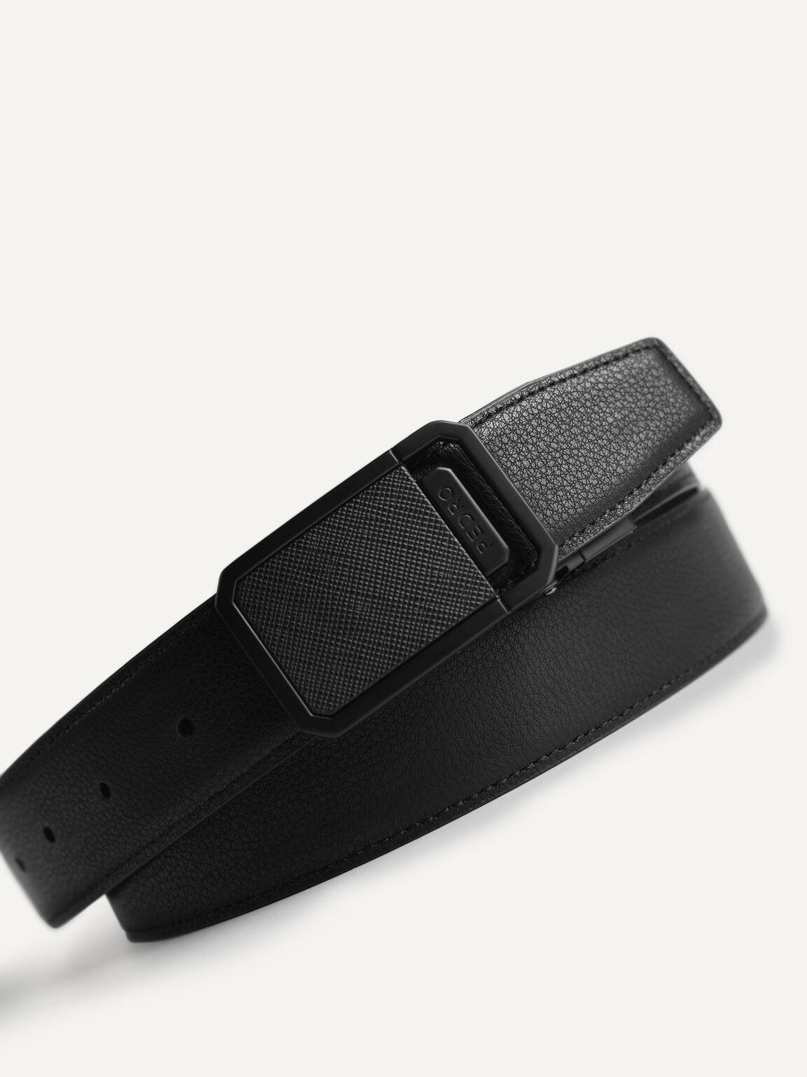 Reversible Textured Leather Belt, Black, hi-res