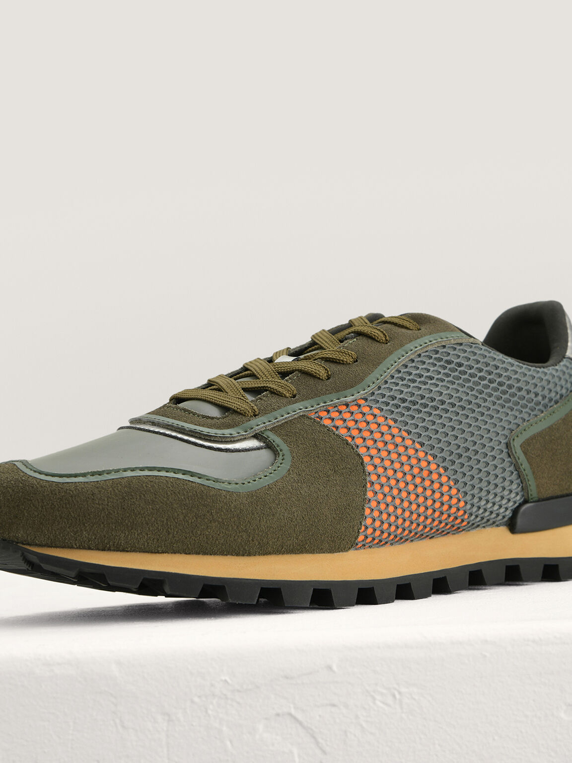 Suede and Mesh Runners, Military Green, hi-res