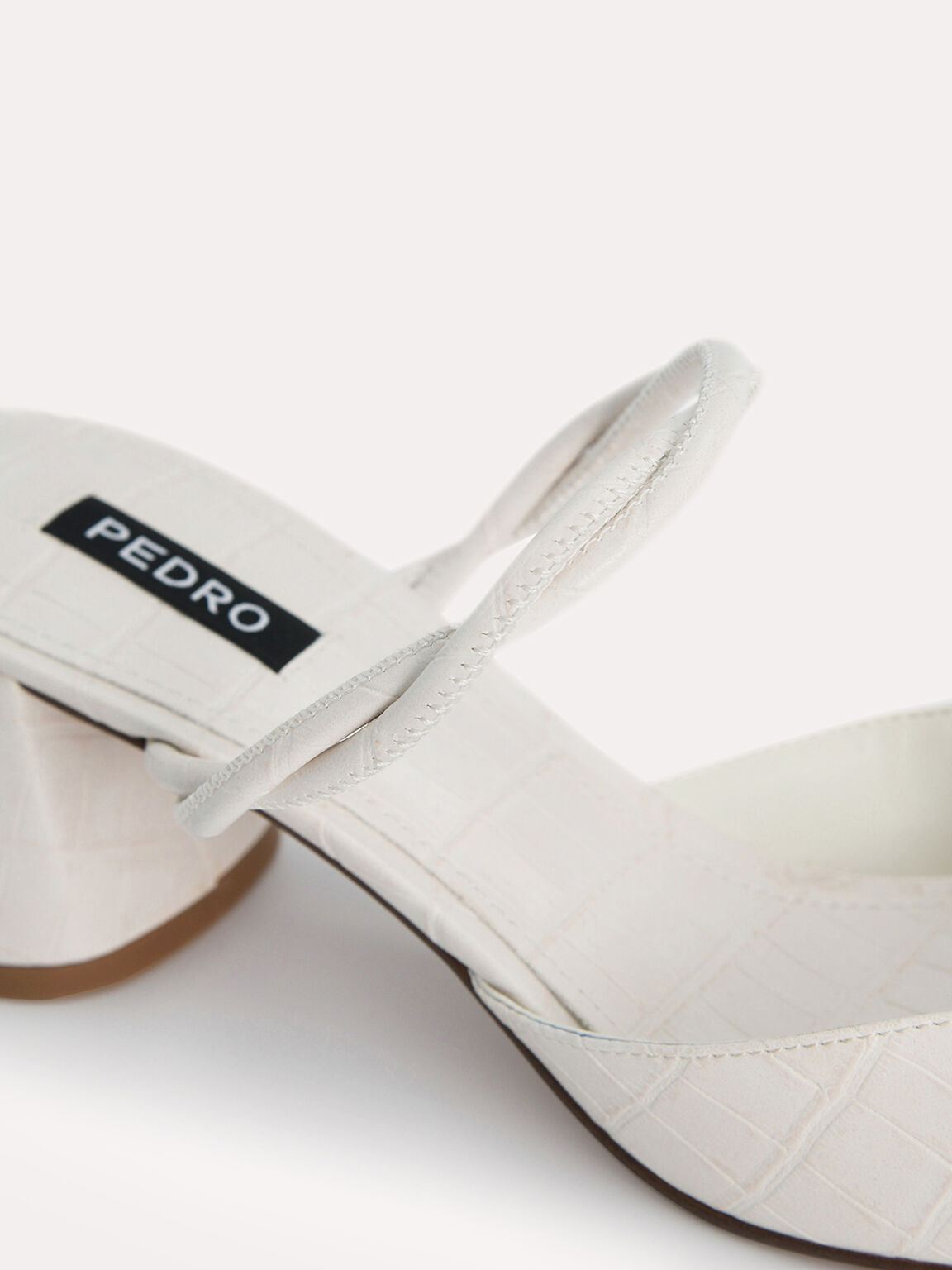 Croc-Effect Heeled Mules, Chalk, hi-res