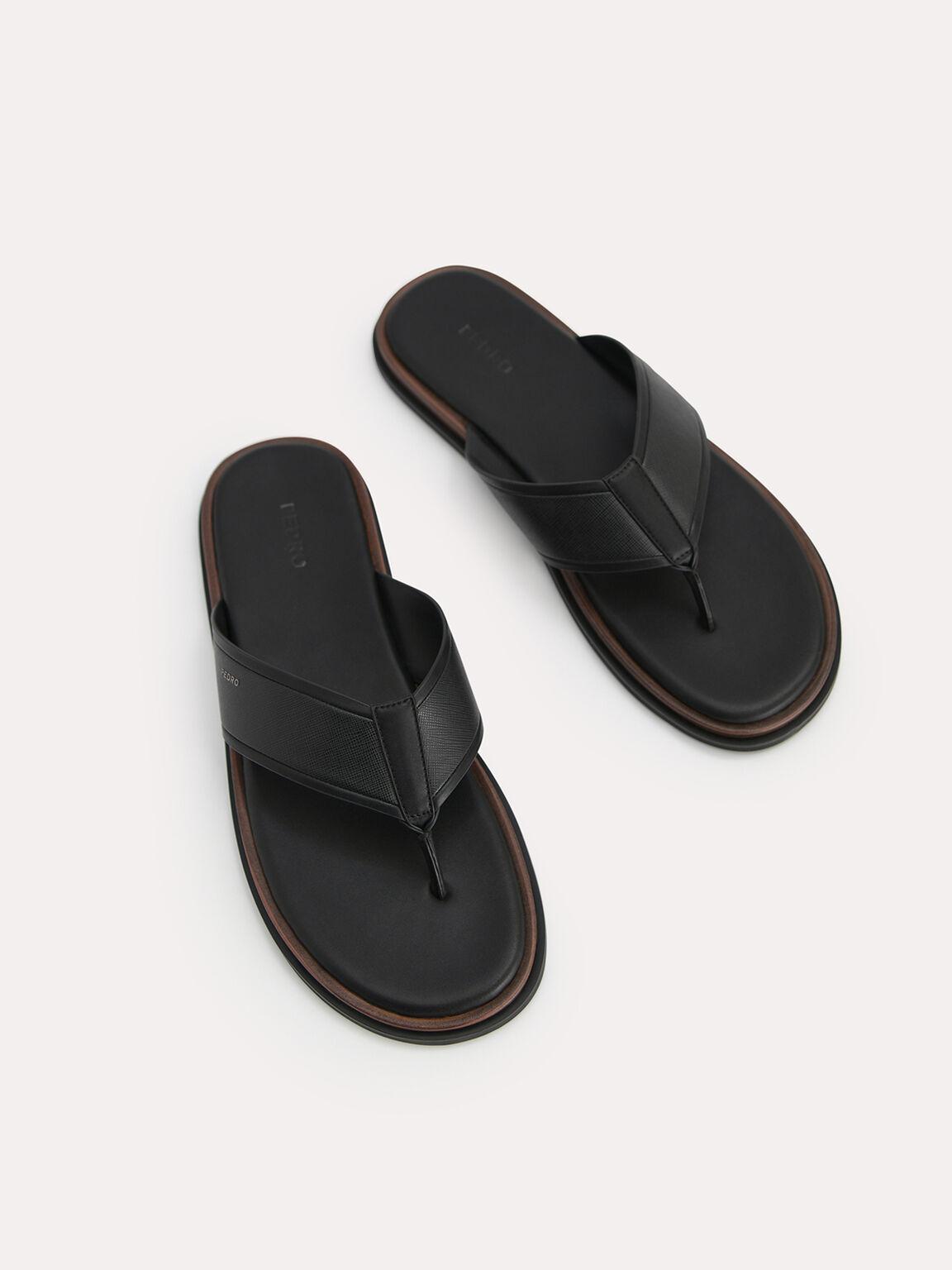 Two-Tone Thong Sandals, Black, hi-res