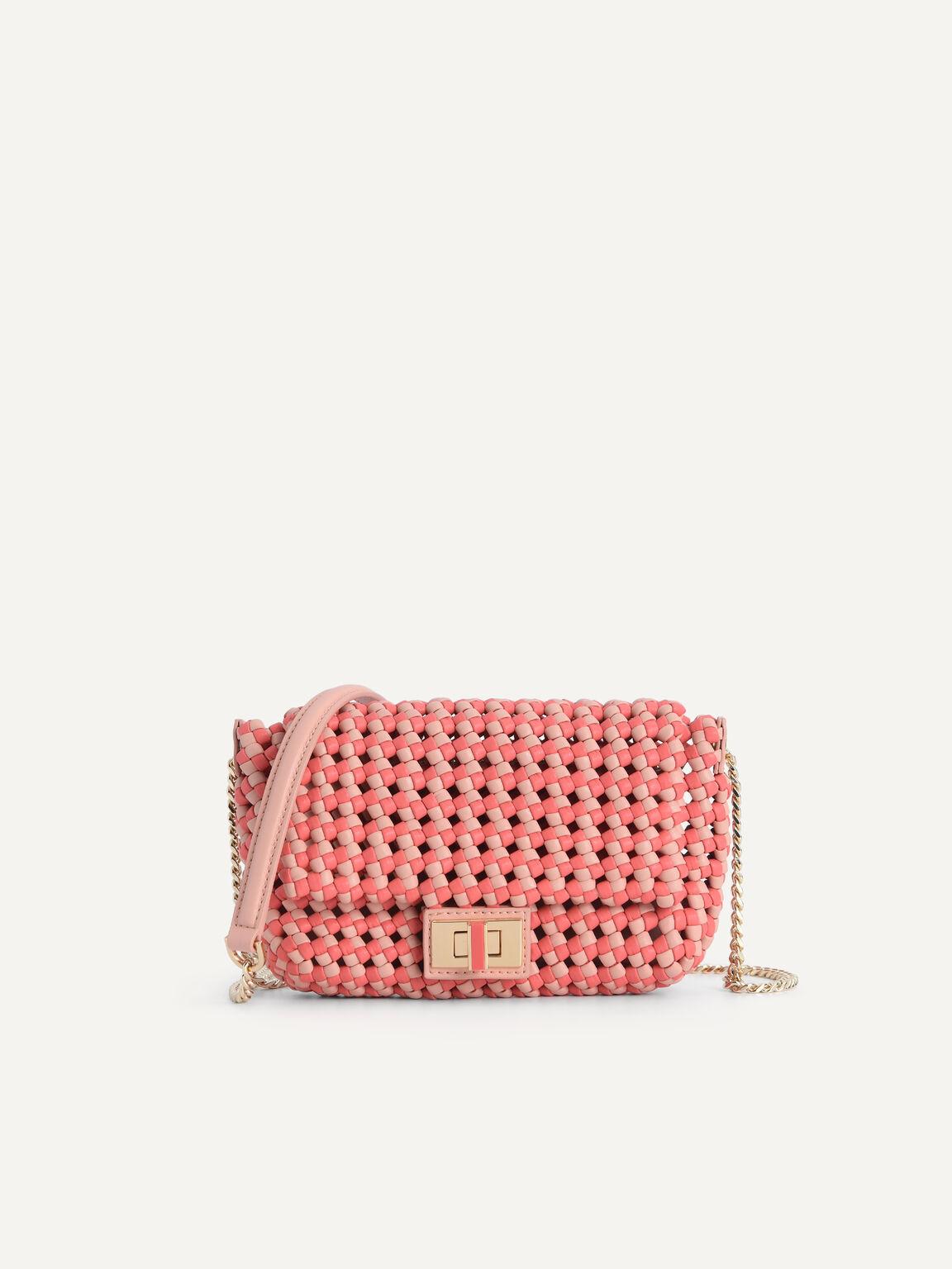 Woven Shoulder Bag, Coral, hi-res