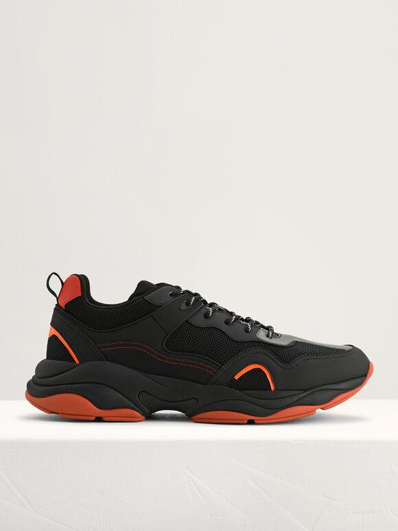 Chunky Mesh Sneakers, Black, hi-res