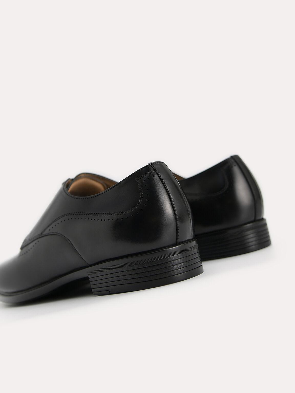 Burnished Leather Derby Shoes, Black, hi-res