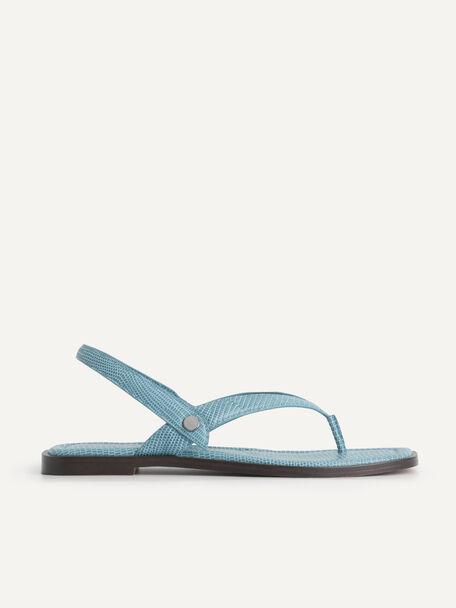 Lizard-Effect Slingback Thong Sandals, Cyan, hi-res